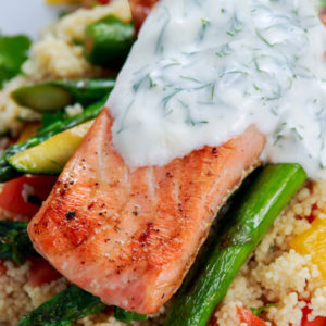 Salmon With Creamy Yogurt Dill Sauce