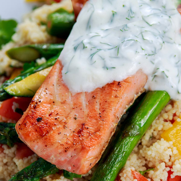 Salmon with creamy yogurt dill sauce recipe from diabetes for Yogurt sauce for fish