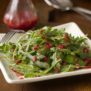 Arugula and Spinach Salad with Raspberry Dressing